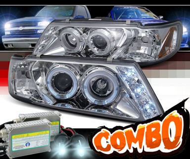 HID Xenon + SPEC-D® Halo LED Projector Headlights - 95-99 Nissan Sentra