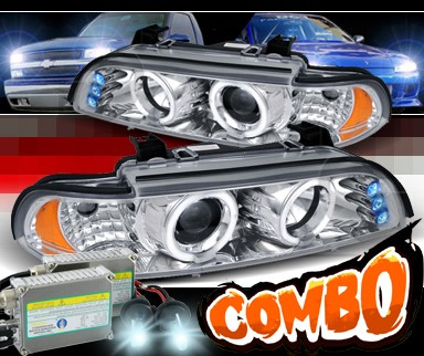 HID Xenon + SPEC-D® Halo LED Projector Headlights - 97-00 BMW 540i E39