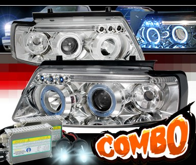 HID Xenon + SPEC-D® Halo LED Projector Headlights - 97-00 VW Volkswagen Passat