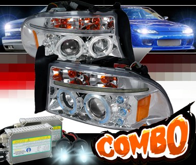 HID Xenon + SPEC-D® Halo LED Projector Headlights - 97-04 Dodge Dakota
