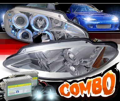 HID Xenon + SPEC-D® Halo LED Projector Headlights - 98-04 Dodge Intrepid