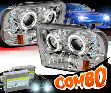 HID Xenon + SPEC-D® Halo LED Projector Headlights - 99-04 Ford F-250 F250