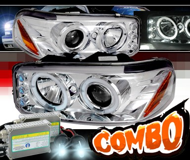 HID Xenon + SPEC-D® Halo LED Projector Headlights - 99-06 GMC Sierra Denali