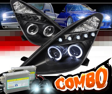 HID Xenon + SPEC-D® Halo LED Projector Headlights (Black) - 00-05 Toyota Celica