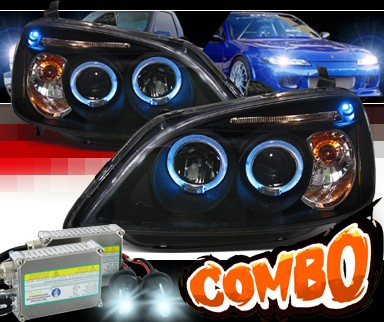 HID Xenon + SPEC-D® Halo LED Projector Headlights (Black) - 01-03 Honda Civic