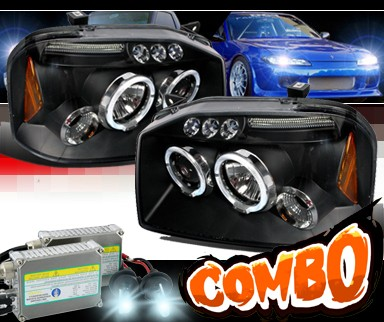 HID Xenon + SPEC-D® Halo LED Projector Headlights (Black) - 01-04 Nissan Frontier