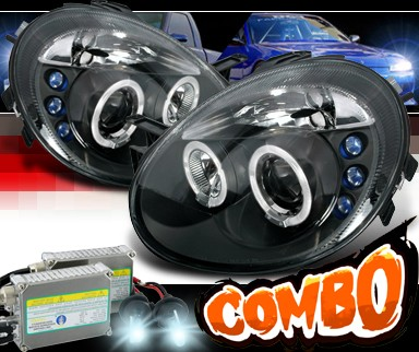 HID Xenon + SPEC-D® Halo LED Projector Headlights (Black) - 03-05 Dodge Neon (incl. SRT-4)