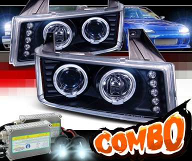 HID Xenon + SPEC-D® Halo LED Projector Headlights (Black) - 04-10 GMC Canyon