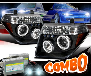 HID Xenon + SPEC-D® Halo LED Projector Headlights (Black) - 05-08 Nissan Frontier