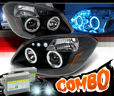 HID Xenon + SPEC-D® Halo LED Projector Headlights (Black) - 05-10 Chevy Cobalt