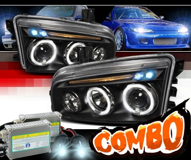 HID Xenon + SPEC-D® Halo LED Projector Headlights (Black) - 06-10 Dodge Charger