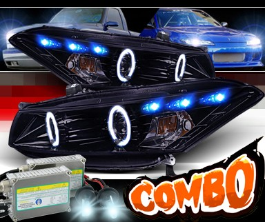 HID Xenon + SPEC-D® Halo LED Projector Headlights (Black) - 08-12 Honda Accord 2dr