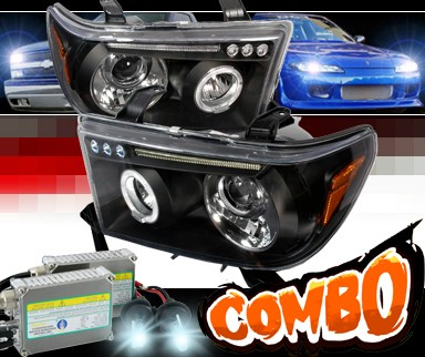 HID Xenon + SPEC-D® Halo LED Projector Headlights (Black) - 08-13 Toyota Sequoia