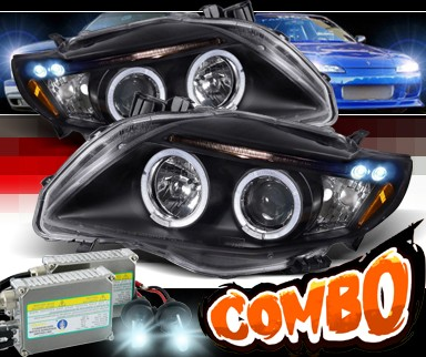 HID Xenon + SPEC-D® Halo LED Projector Headlights (Black) - 09-10 Toyota Corolla