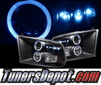 HID Xenon + SPEC-D® Halo LED Projector Headlights (Black) - 09-12 Dodge Ram Pickup