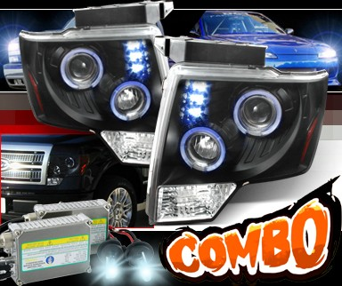 HID Xenon + SPEC-D® Halo LED Projector Headlights (Black) - 09-13 Ford F150 F-150