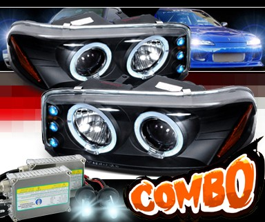 HID Xenon + SPEC-D® Halo LED Projector Headlights (Black) - 2007 GMC Sierra Classic