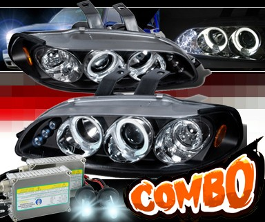 HID Xenon + SPEC-D® Halo LED Projector Headlights (Black) - 92-95 Honda Civic All (incl. EG Hatch)