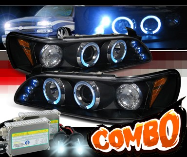 HID Xenon + SPEC-D® Halo LED Projector Headlights (Black) - 93-97 Toyota Corolla