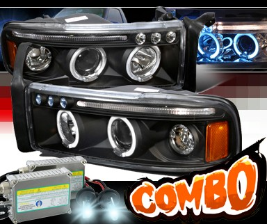HID Xenon + SPEC-D® Halo LED Projector Headlights (Black) - 94-01 Dodge Ram 1500 Pickup