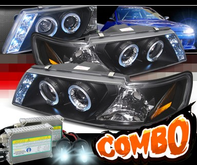 HID Xenon + SPEC-D® Halo LED Projector Headlights (Black) - 95-99 Nissan Sentra