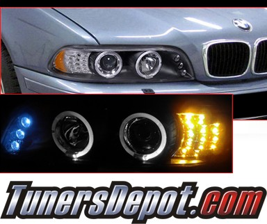HID Xenon + SPEC-D® Halo LED Projector Headlights (Black) - 97-00 BMW 528i E39 (Version 2)