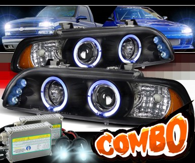 HID Xenon + SPEC-D® Halo LED Projector Headlights (Black) - 97-00 BMW 540i E39
