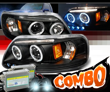 HID Xenon + SPEC-D® Halo LED Projector Headlights (Black) - 97-02 Ford Expedition