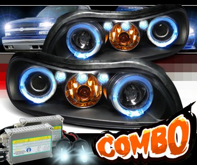 HID Xenon + SPEC-D® Halo LED Projector Headlights (Black) - 97-03 Chevy Malibu