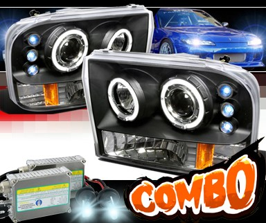 HID Xenon + SPEC-D® Halo LED Projector Headlights (Black) - 99-04 Ford F-350 F350