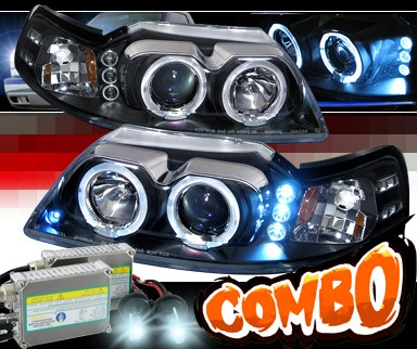HID Xenon + SPEC-D® Halo LED Projector Headlights (Black) - 99-04 Ford Mustang