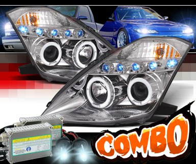 HID Xenon + SPEC-D® Halo LED Projector Headlights (Chrome) - 03-05 Nissan 350Z (w/o Stock HID)