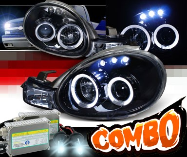HID Xenon + SPEC-D® Halo LED Projector Headlights (Glossy Black) - 00-02 Dodge Neon