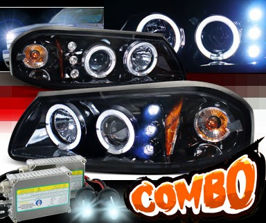 HID Xenon + SPEC-D® Halo LED Projector Headlights (Glossy Black) - 00-05 Chevy Impala