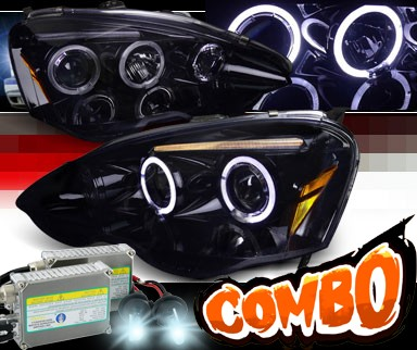HID Xenon + SPEC-D® Halo LED Projector Headlights (Glossy Black) - 02-04 Acura RSX