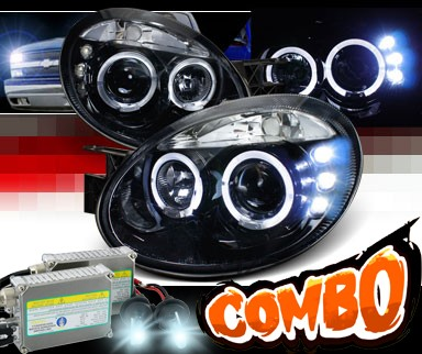 HID Xenon + SPEC-D® Halo LED Projector Headlights (Glossy Black) - 03-05 Dodge Neon