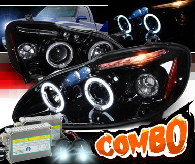 HID Xenon + SPEC-D® Halo LED Projector Headlights (Glossy Black) - 03-08 Toyota Corolla