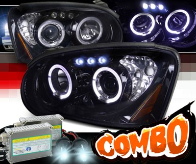 HID Xenon + SPEC-D® Halo LED Projector Headlights (Glossy Black) - 04-05 Subaru Impreza