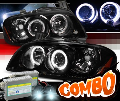 HID Xenon + SPEC-D® Halo LED Projector Headlights (Glossy Black) - 04-06 Nissan Sentra