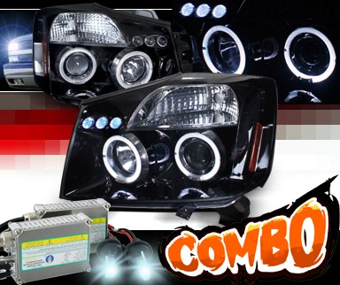 HID Xenon + SPEC-D® Halo LED Projector Headlights (Glossy Black) - 04-07 Nissan Titan