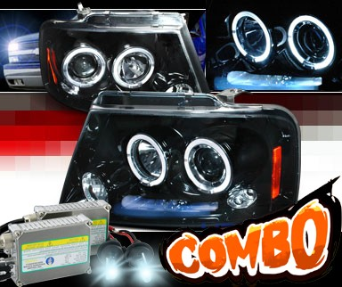 HID Xenon + SPEC-D® Halo LED Projector Headlights (Glossy Black) - 04-08 Ford F150 F-150