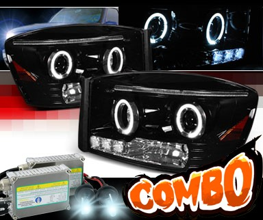 HID Xenon + SPEC-D® Halo LED Projector Headlights (Glossy Black) - 06-08 Dodge Ram Pickup