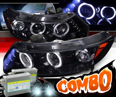 HID Xenon + SPEC-D® Halo LED Projector Headlights (Glossy Black) - 06-11 Honda Civic 2dr