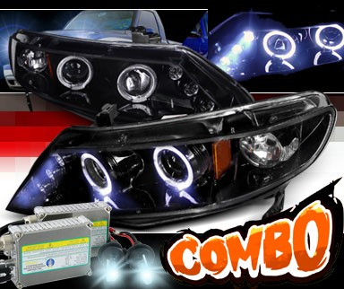 HID Xenon + SPEC-D® Halo LED Projector Headlights (Glossy Black) - 06-11 Honda Civic 4dr