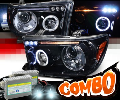 HID Xenon + SPEC-D® Halo LED Projector Headlights (Glossy Black) - 07-09 Toyota Tundra