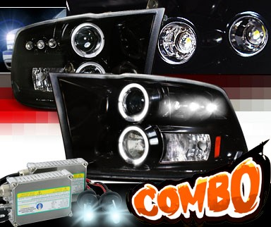 HID Xenon + SPEC-D® Halo LED Projector Headlights (Glossy Black) - 09-12 Dodge Ram Pickup