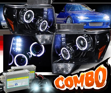 HID Xenon + SPEC-D® Halo LED Projector Headlights (Glossy Black) - 09-13 Ford F150 F-150