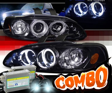 HID Xenon + SPEC-D® Halo LED Projector Headlights (Glossy Black) - 92-95 Honda Civic 2/3dr