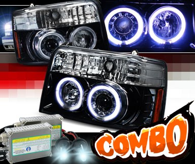 HID Xenon + SPEC-D® Halo LED Projector Headlights (Glossy Black) - 92-96 Ford F150 F-150