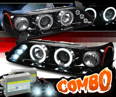 HID Xenon + SPEC-D® Halo LED Projector Headlights (Glossy Black) - 93-97 Toyota Corolla